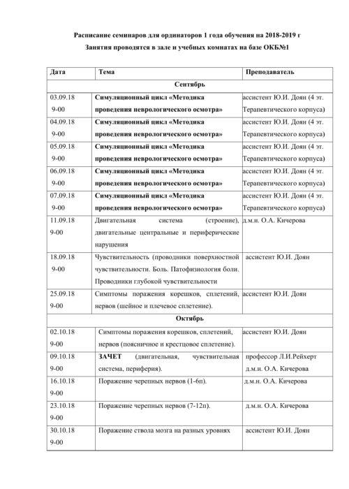 Расписание семинаров на 2018-2019г-1